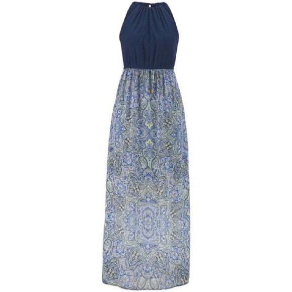 Maurices Blue Paisley Maxi Dress Plus Size sz 1 1X